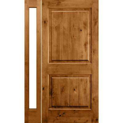 56 in. x 96 in. Rustic Alder Sq-Top VG Clear Low-E Unfinished Wood Right-Hand Prehung Front Door/Left Full Sidelite