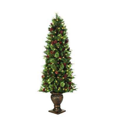6.5 ft. Pre-Lit Potted Artificial Christmas Tree