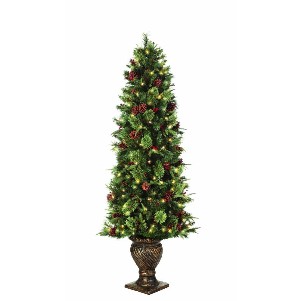 Home Accents Holiday 6.5 ft. Pre-Lit Potted Artificial Christmas ...