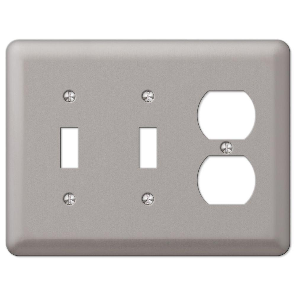 AMERELLE Declan 3 Gang 2-Toggle and 1-Duplex Steel Wall Plate - Pewter