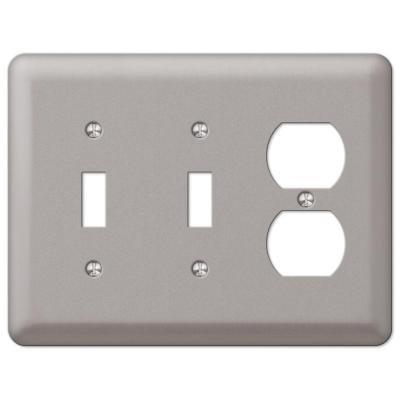 Declan 3 Gang 2-Toggle and 1-Duplex Steel Wall Plate - Pewter