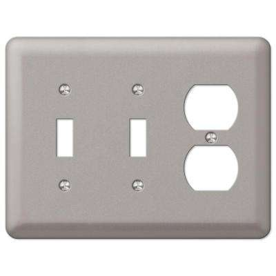 Devon 2 Toggle 1 Duplex Combination Wall Plate - Pewter
