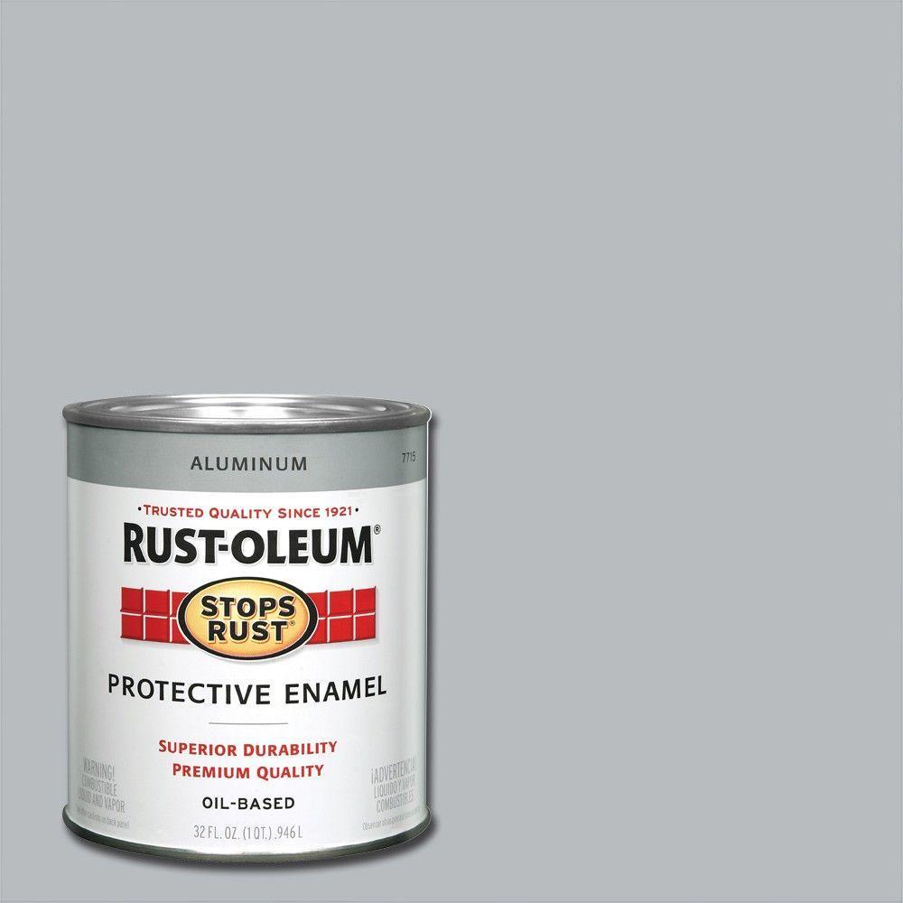RustOleumStopsRust Rust-Oleum Stops Rust 1 qt. Protective Enamel Metallic Aluminum Interior/Exterior Paint, Silver