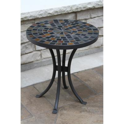 Round 18 in. Rustic Slate Metal Outdoor Accent Table