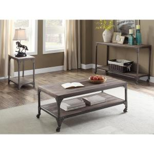 Amelia Weathered Oak And Antique Silver Coffee Table