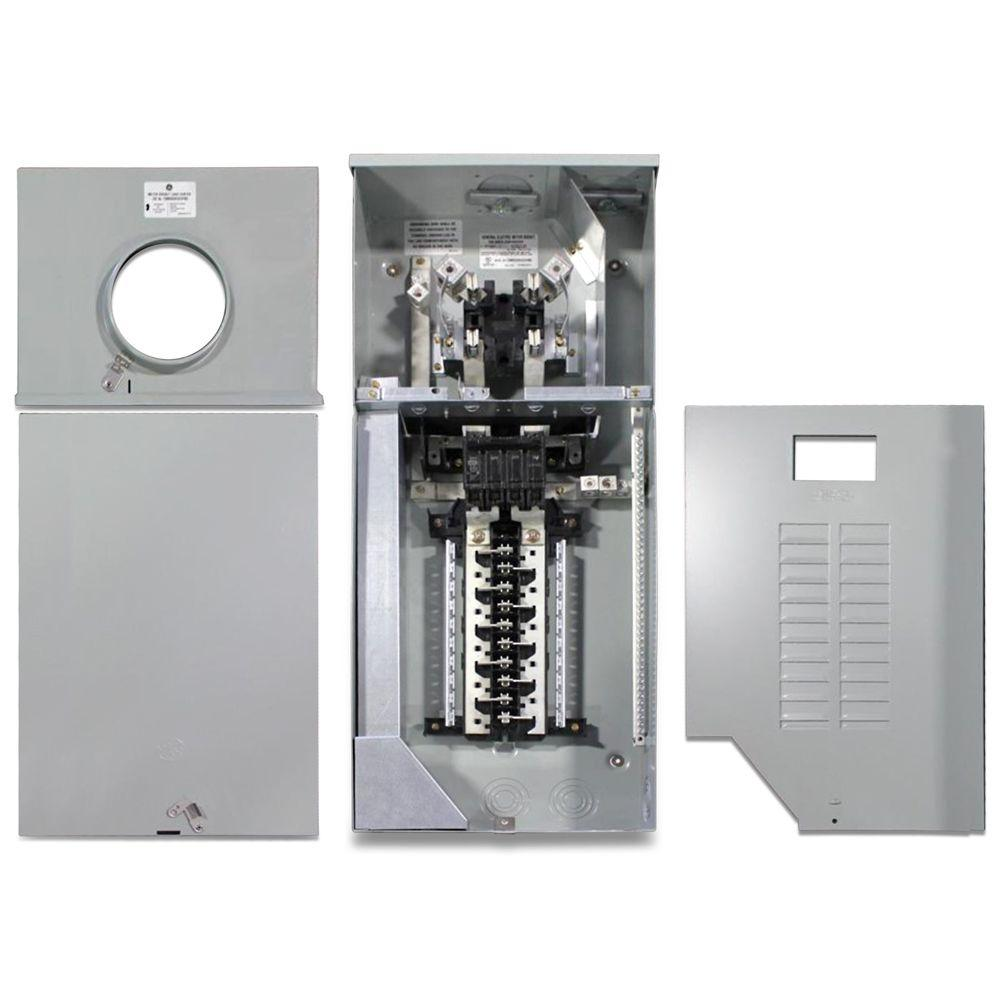 GE 150 Amp 8 Space 16 Circuit Outdoor Combination Main Breaker/Ringless  Meter Socket Load