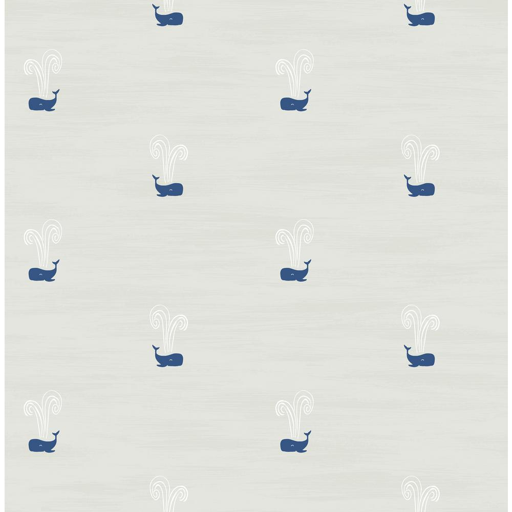 Seabrook Designs Kids Soft Gray And Navy Tiny Whales Wallpaper