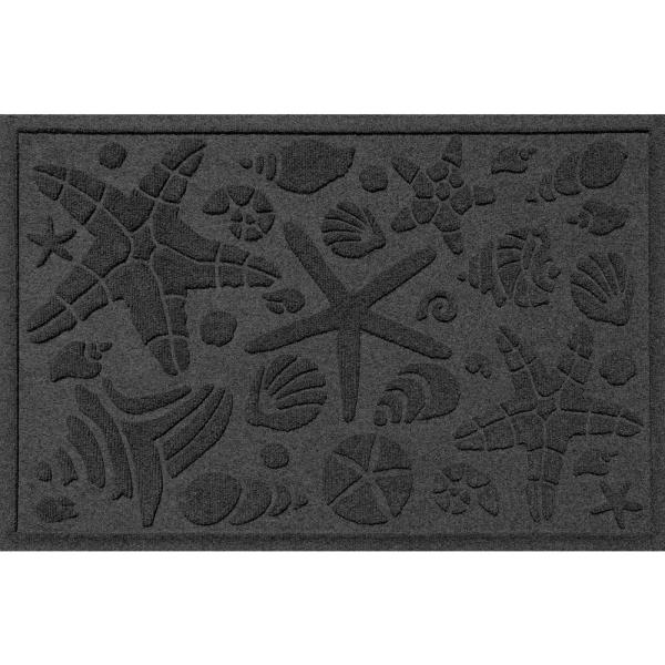 Bungalow Flooring Aqua Shield Squares 23 In X 35 In Pet Polyester Doormat Charcoal 280540023 The Home Depot