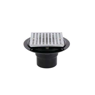 ABS Shower Drain with Square 4-3/16 in. Chrome Strainer