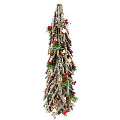 23 in. Natural Looking Wooden Piecs Snowy Cone Tree with Berry Decor Lamp Beads and 15 Warm White Battery Operated LED