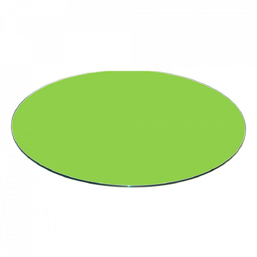 Fab Glasirror 38 Inch Green Round Glass Table Top Back Painted 3