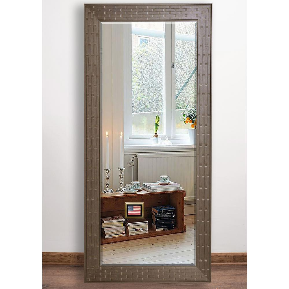 31 in. x 64.5 in. Espresso Bricks Beveled Full Body Mirror