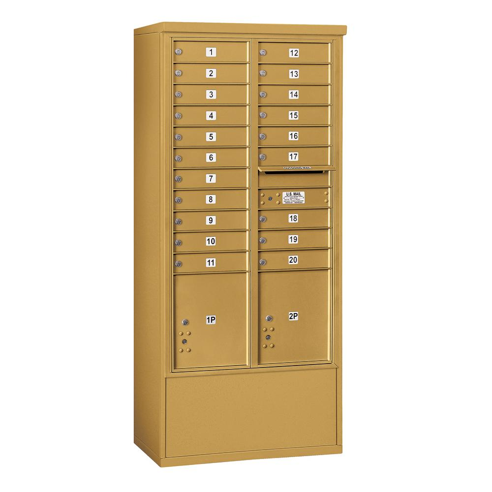 Salsbury Industries 3900 Horizontal Series 20-Compartment 2-Parcel Locker Free Standing Mailbox