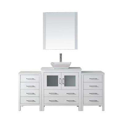 Dior 68 in. W x 18.3 in. D Vanity in White with Stone Vanity Top in White with White Basin and Mirror