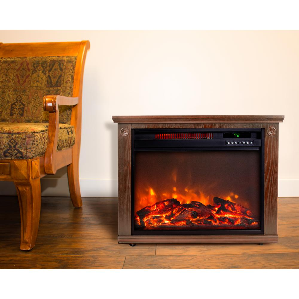 Lifesmart Mantel 28 in. Freestanding Electric Fireplace in Medium Oak with Remote