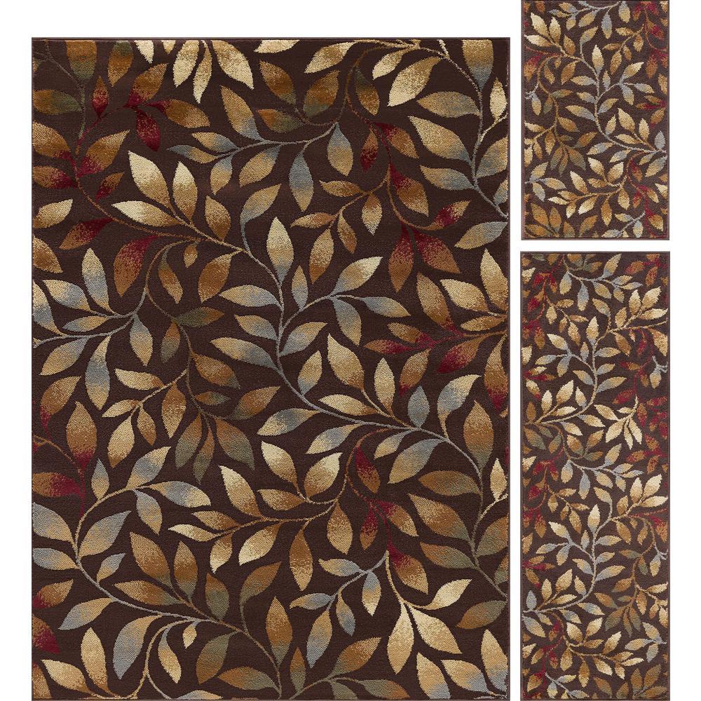 Elegance Brown 5 ft. x 7 ft. 3-Piece Rug Set