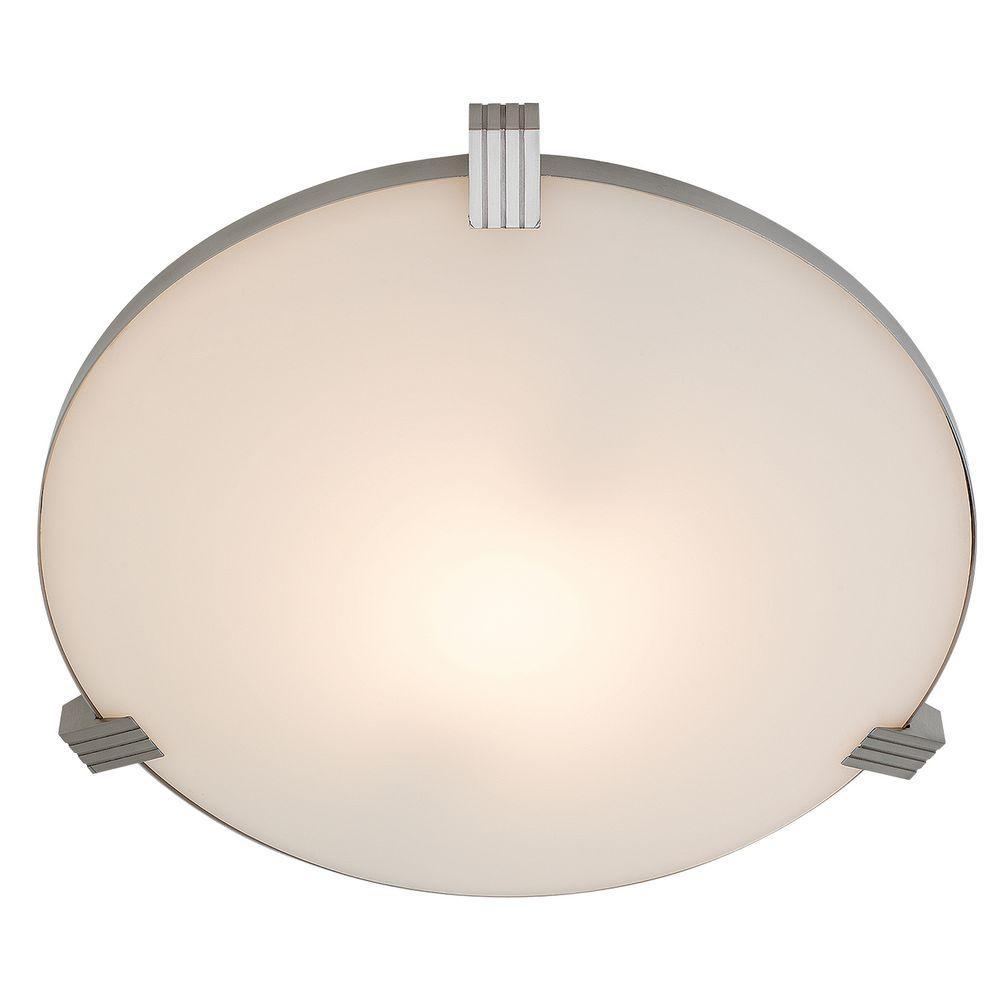 Luna 1-Light Brushed Steel Flushmount with White Glass Shade