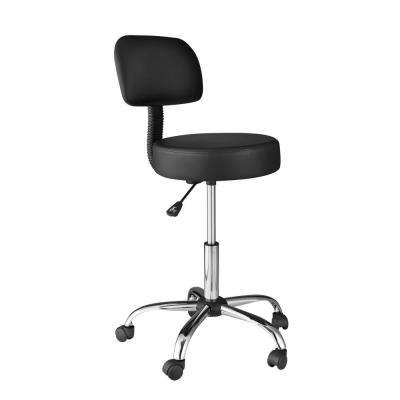 Black Medical Stool with Back Cushion
