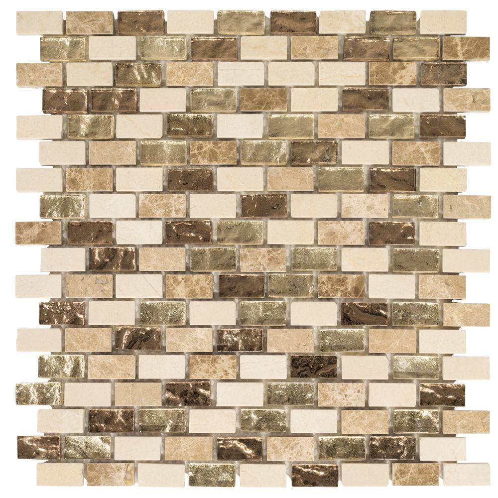 JeffreyCourt Jeffrey Court Molten 12 in. x 12 in. x 8 mm Glass/Marble Mosaic Tile, Browns/Tans