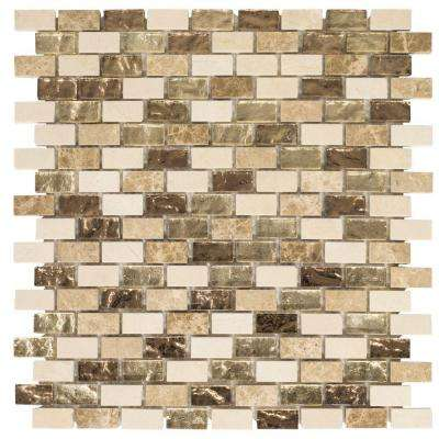 Molten 12 in. x 12 in. x 8 mm Glass/Marble Mosaic Tile