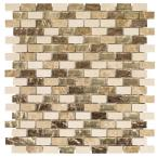 Molten Beige/Cream 12 in. x 12 in. x 8 mm Interlocking Glass/Marble Mosaic Tile