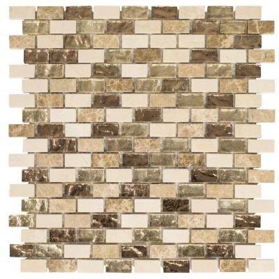 Molten 11.875 in. x 11.25 in. Interlocking Cream Glass/Cream and Emperador Marble Mosaic Tile (.927 sq. ft./Each)