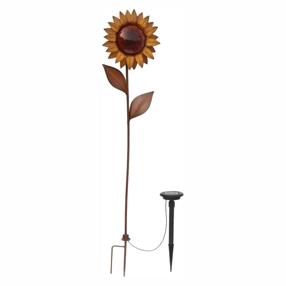 Hampton Bay 36 in. Solar Bronze Integrated LED Sunflower with Solar Panel