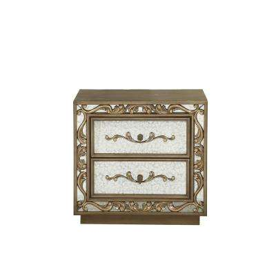 Orianne Antique Gold and Mirrored Nightstand