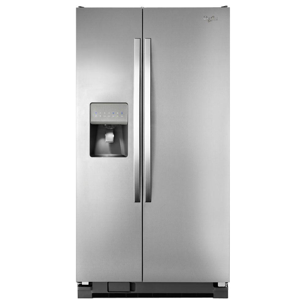 Shop Kitchenaid 24 8 Cu Ft Side By Side Refrigerator With: Whirlpool 24.5 Cu. Ft. Side By Side Refrigerator In