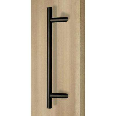 72 in. Offset Ladder Style Back-to-Back Matte Black Stainless Steel Door Pull Handleset for Easy Installation