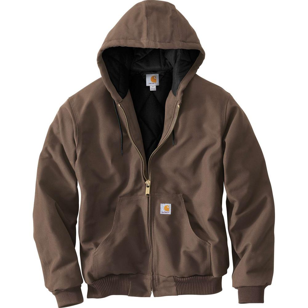 cf3f65195115e Carhartt Men'S Large Coffee Cotton Quilted Flannel Lined Duck Active Jacket