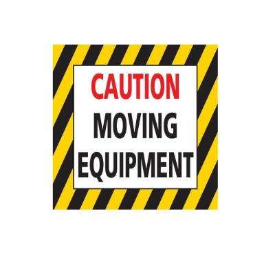 24 in. Caution Moving Equipment Floor Sign