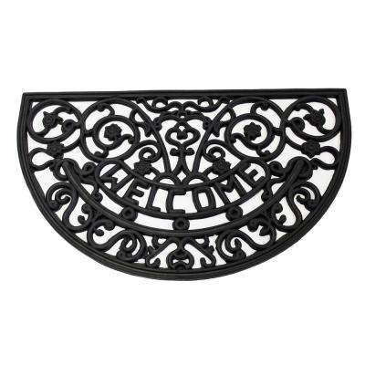 Wrought Iron Collection Black Half Round Welcome 18 in. x 30 in. Rubber Outdoor/Indoor Door Mat