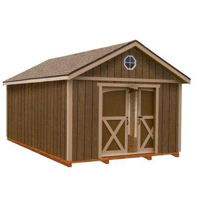 North Dakota 12 ft. x 12 ft. Wood Storage Shed Kit with Floor Including 4 x 4 Runners