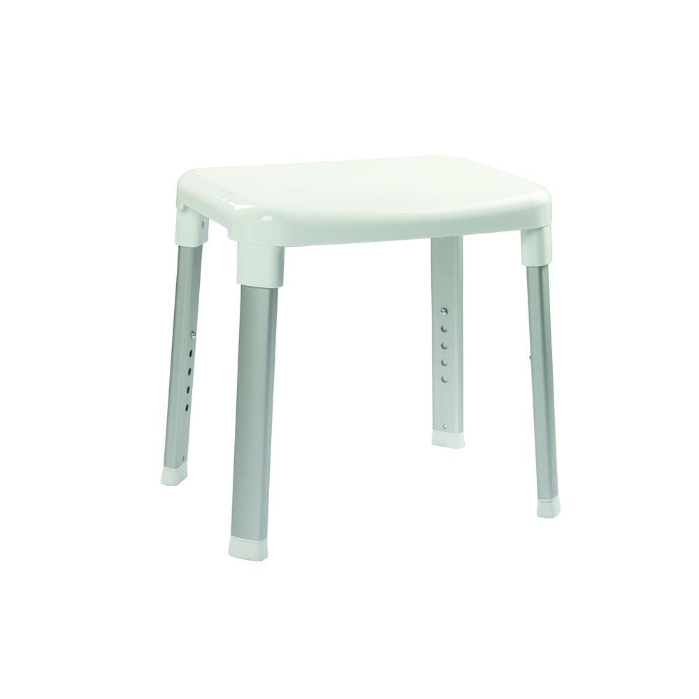 Large Adjustable Shower Seat in White