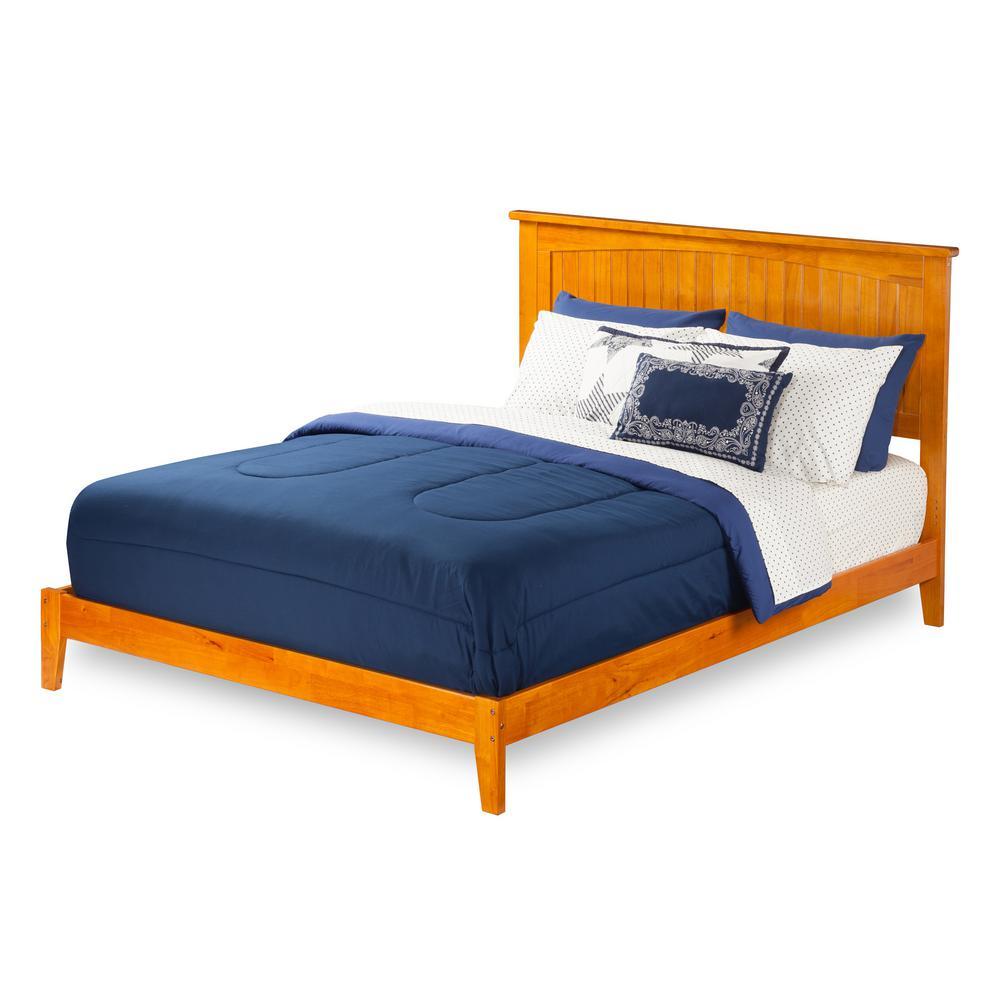 Nantucket King Platform Bed with Open Foot Board in Caramel