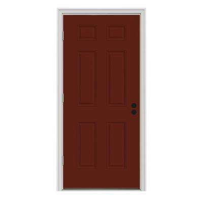 30 in. x 80 in. 6-Panel Mesa Red Painted Steel Prehung Right-Hand Outswing Front Door w/Brickmould