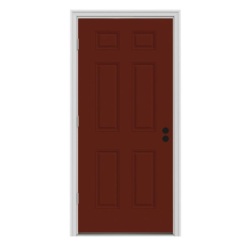 JELD-WEN 36 in. x 80 in. 6-Panel Mesa Red Painted Steel Prehung Right-Hand Outswing Front Door w/Brickmould