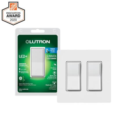Sunnata Touch Dimmer with LED+ Advanced Technology for LED, Incandescent/Halogen Bulbs, White (2-Pk w/ 2-Gang Wallplate)