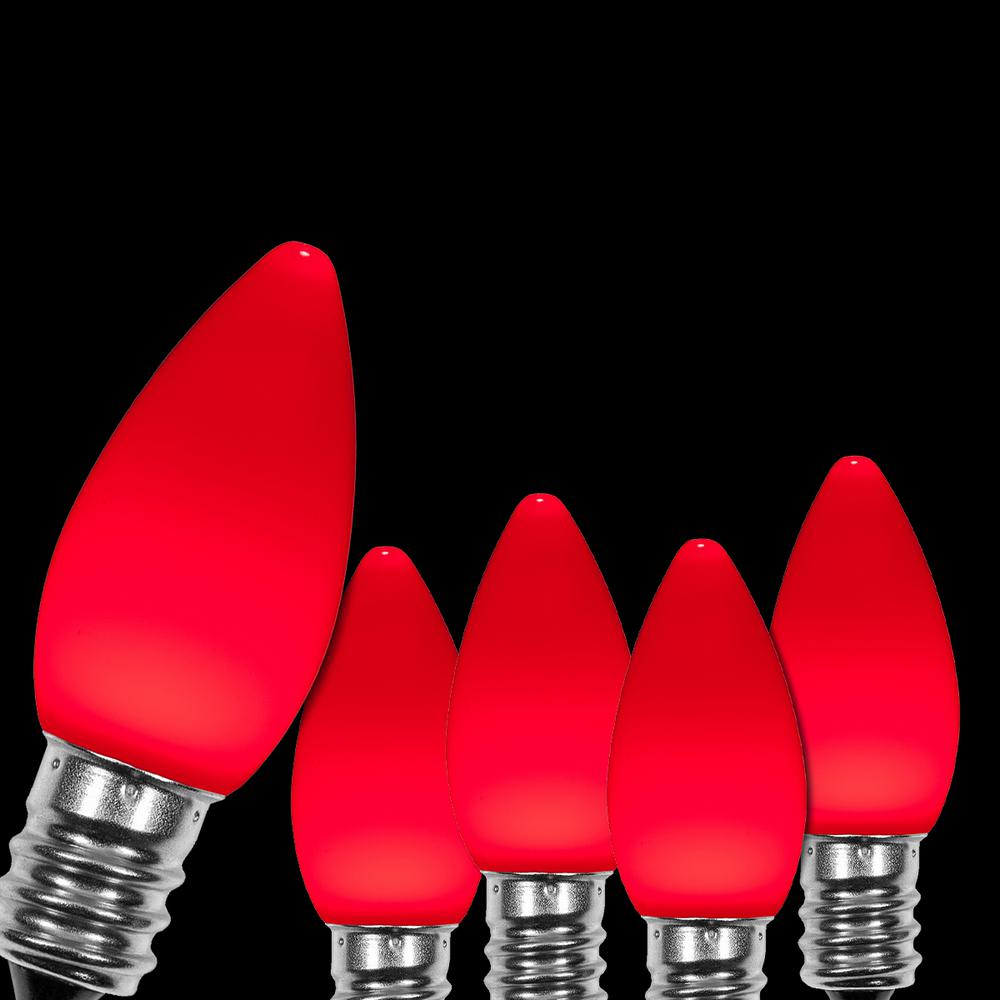 Wintergreen Lighting OptiCore C7 LED Red Smooth/Opaque Christmas Light Bulbs (25-Pack)