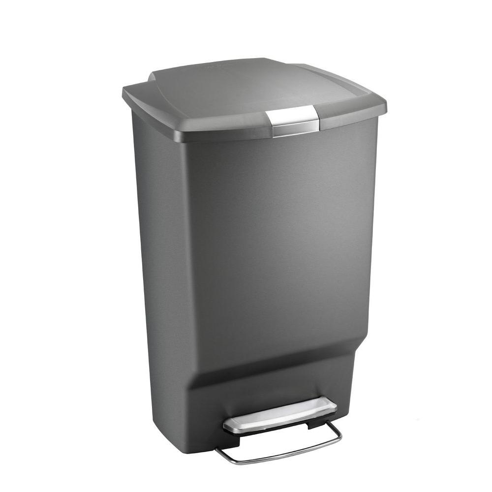 45 l Grey Rectangular Plastic Step Trash Can