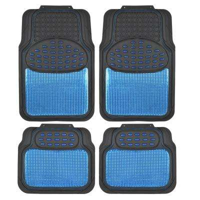 Rubber Metallic MT-614 Blue Trimmable Heavy Duty  4-Piece Car Floor Mats