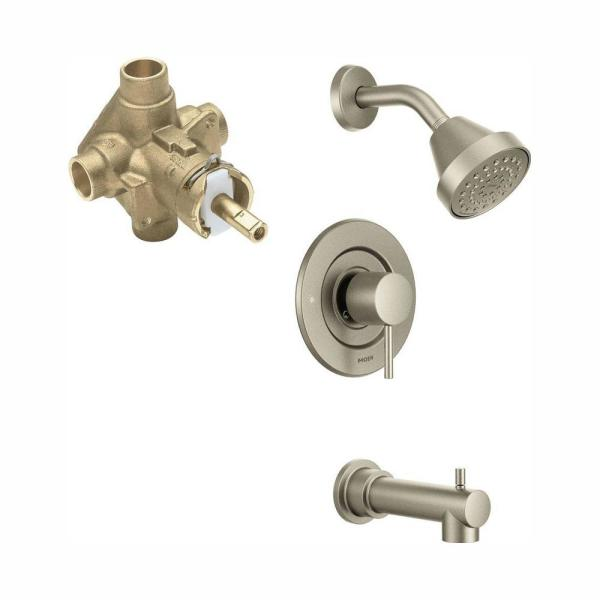Moen Brantford Single Handle 1 Spray Posi Temp Tub And Shower Faucet Trim Kit In Brushed Nickel Valve Included T2153epbn 2520 The Home Depot