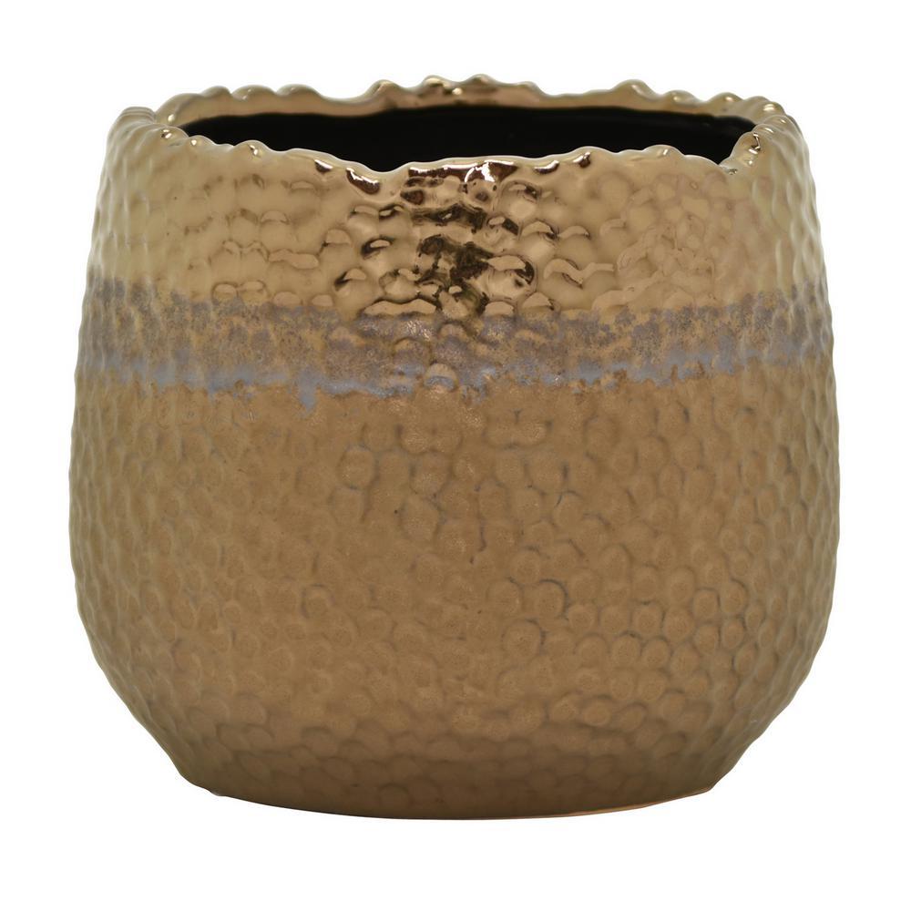 5 in. Ceramic Flower Pot in Bronze
