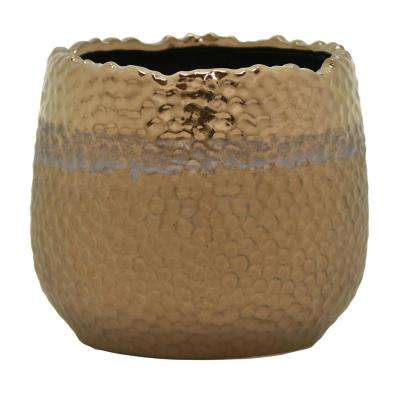 5 in. Ceramic Flower Pot in Bronze