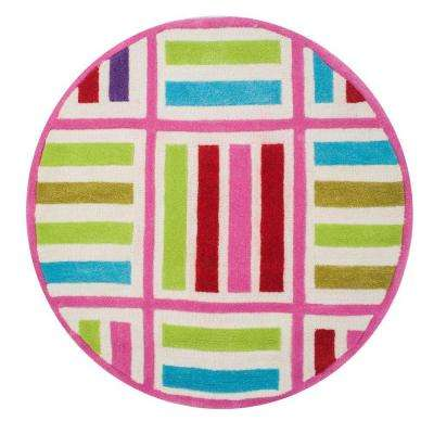 Cross Lines Ivory/Pink 3 ft. x 3 ft. Round Area Rug