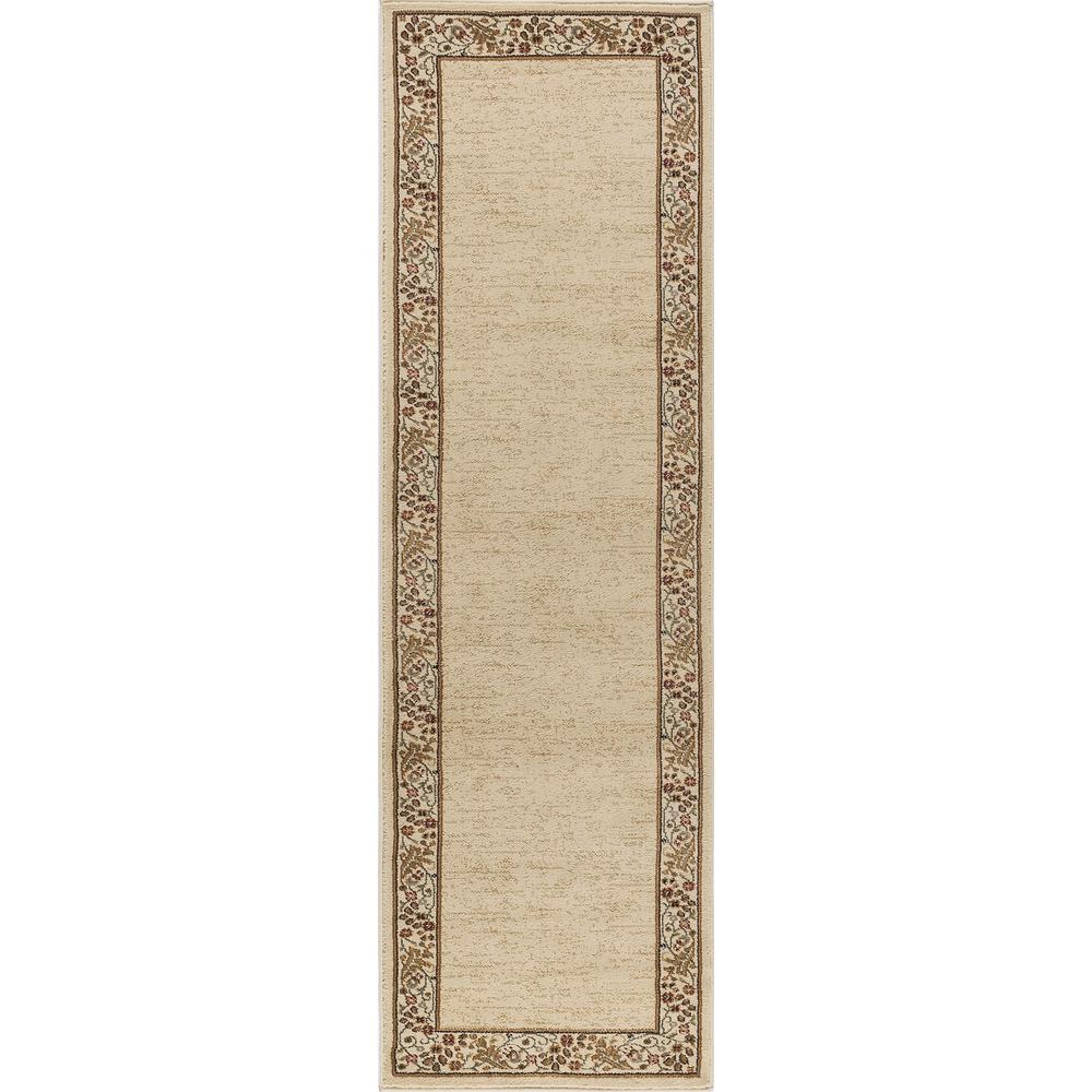 Ottomanson Traditional Floral Design Dark Red 2 Ft X 7 Ft: Tayse Rugs Sensation Beige 2 Ft. 7 In. X 7 Ft. 3 In