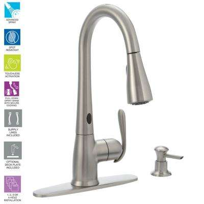 Haysfield Single-Handle Pulldown Sprayer Touchless Kitchen Faucet w/MotionSense and Power Clean in Spot Resist Stainless