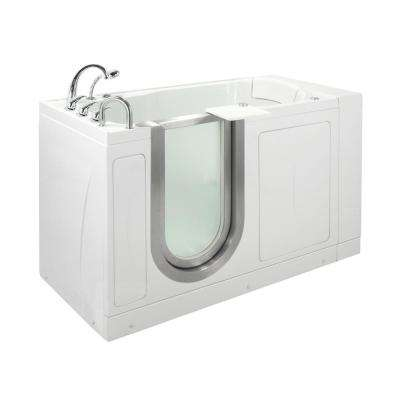 Petite 52 in. Acrylic Walk-In MicroBubble Air Bath Bathtub in White with Thermostatic Faucet Set, LHS 2 in. Dual Drain