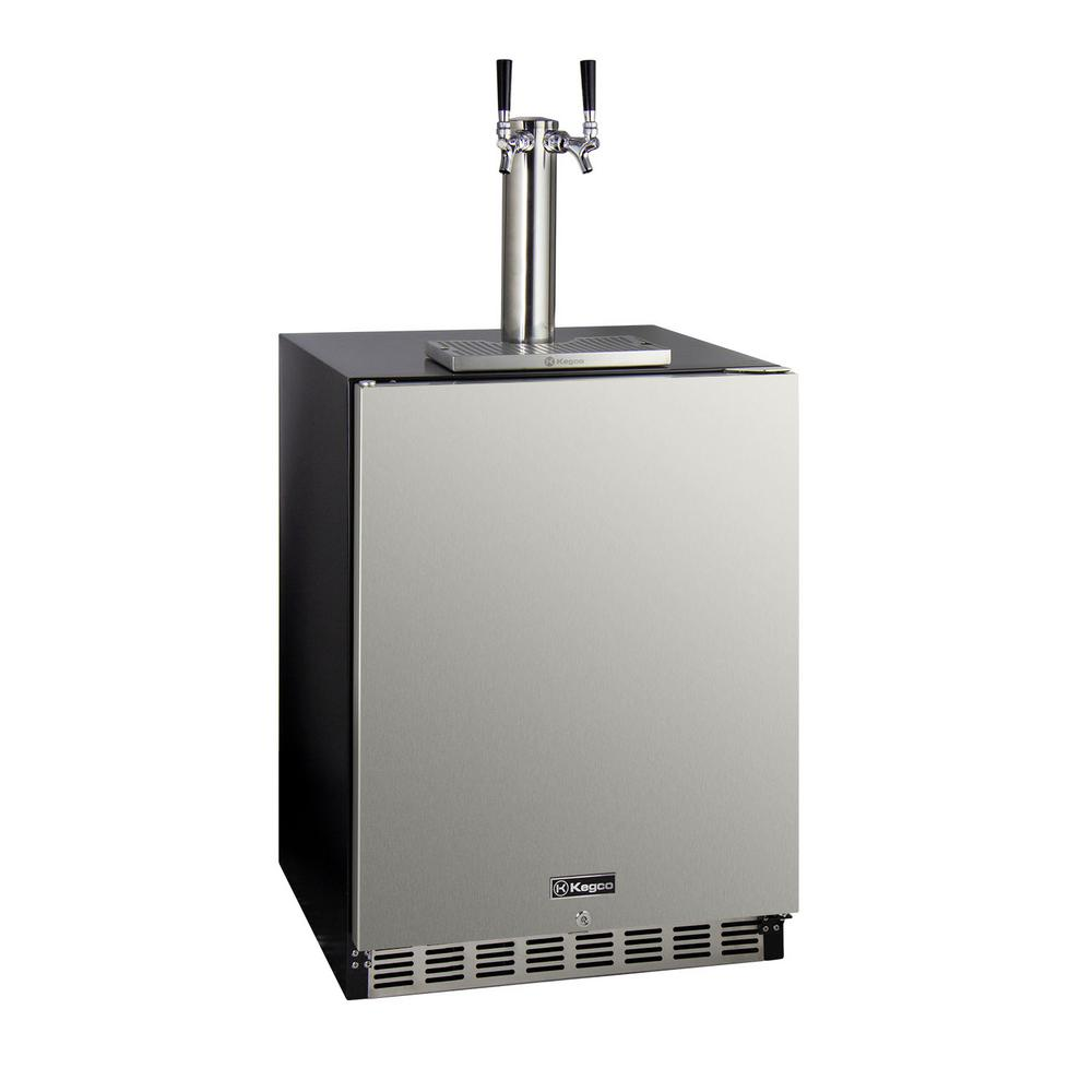 Kegco Dual Tap ADA Undercounter Kegerator with X-CLUSIVE Premium Direct Draw Kit - Right Hinge